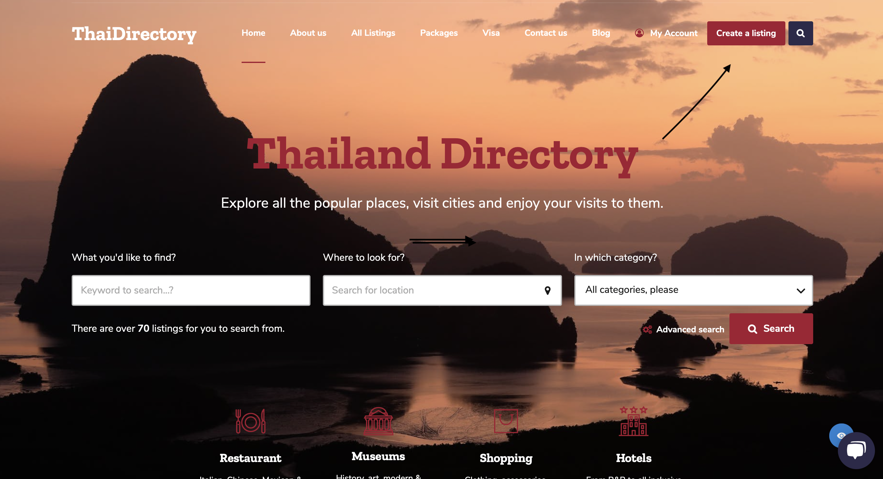 Thailand Directory Startpage - Create a listing